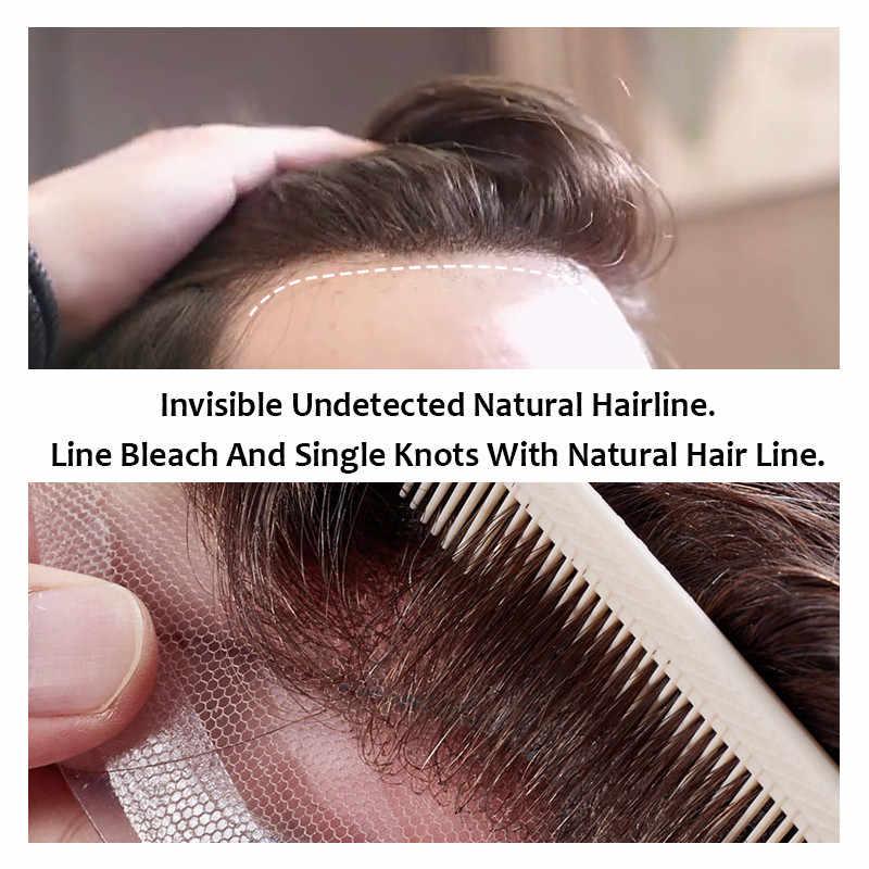 Erkek peruğu İsviçre dantel ve PU saç değiştirme sistemleri el yapımı peruk doğal Remy 6 inç hint İnsan saç erkekler için
