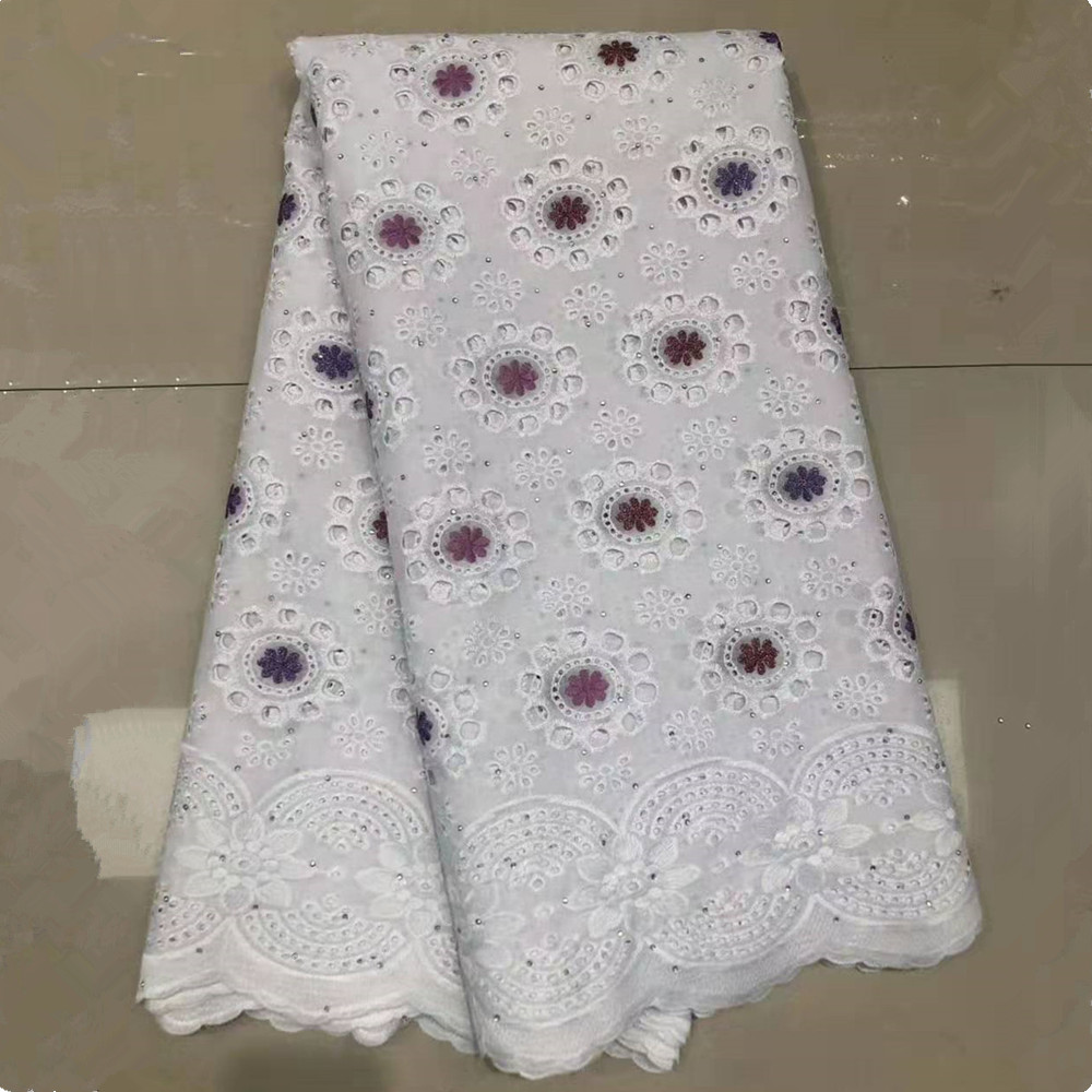 Latest Cotton-Like Beaded African Wax Guipure Lace Fabric 2020 Embroidered Nigerian Voile George Lace Fabric For Wedding Party