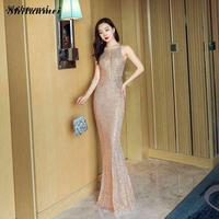 Gold Sequin Evening Party Dress Hollow Out Sequined Dresses Women Sleeveless Backless Mermaid Dress Shining Ball Gowns Femme