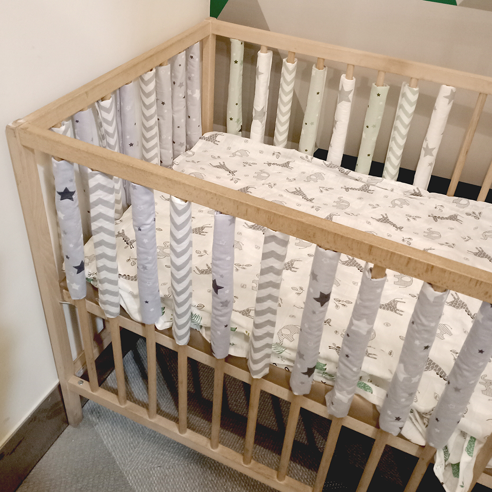 12 Pcs /lot Baby Bed Crib Bumper Newborn Bumpers Infant Safe Fence Line Bebe Cot Protector Unisex Newborn Bumpers
