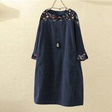 Винтажное вельветовое женское платье с цветочным принтом, с длинным рукавом, в стиле пэчворк, свободное платье, Осеннее повседневное женское платье с круглым вырезом размера плюс, Vestidos