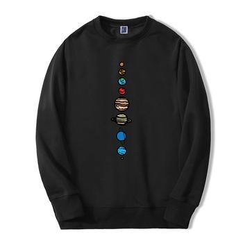 Planety kolor mężczyźni bluza z kapturem 2019 jesień zima ciepły polar wysokiej jakości bluzy kreatywny Design śmieszne moda Fitness bluzy tanie i dobre opinie Robmoda CN (pochodzenie) Pełne Na co dzień Drukuj REGULAR Z okrągłym kołnierzykiem Brak POLIESTER NONE