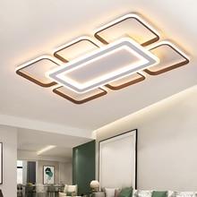 מודרני LED נברשות תקרה לסלון חדר שינה plafonnier הוביל חום אלומיניום + אקריליק מודרני נברשת תאורה גופי