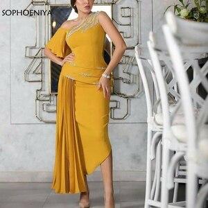 Image 1 - New Arrival pomarańczowe suknie wieczorowe długie abiye muzułmańskie suknie wieczorowe długa sukienka na imprezę 2020 szata soiree longue galajurk