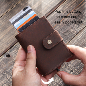 Image 2 - CONTACTS Crazy Horse Leather Card Holder Wallet Men Automatic Pop Up ID Card Case Male Coin Purse Aluminium Box RFID Blocking