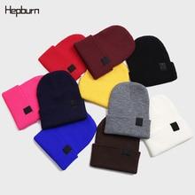 Hepburn Brand Solid Men Women Skull Cap Unisex Beanie Autumn Winter Wool Blends Soft Warm Knitted Beanies Hat 2019