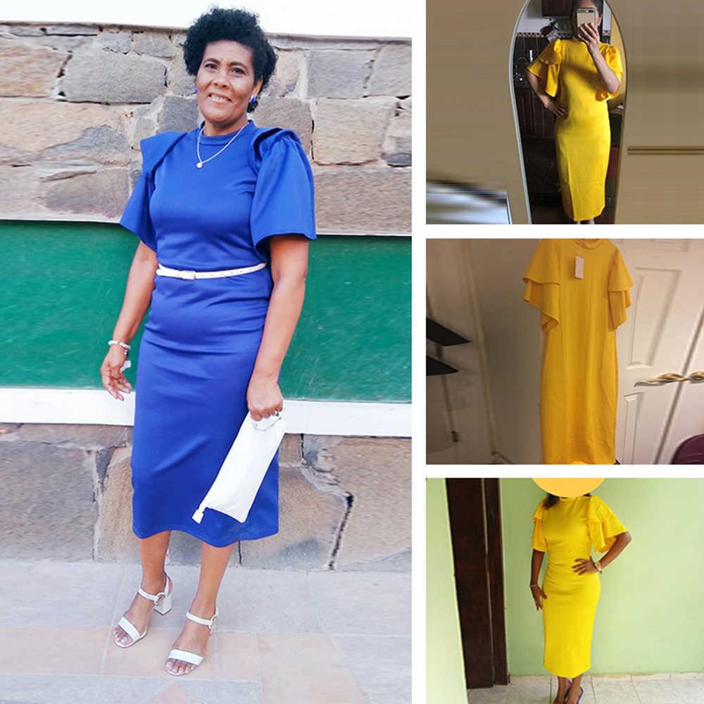 2019 vestido de oficina para mujer vestido amarillo vestido de trabajo para chica con volantes cremallera de talla grande vestidos midi ajustados de verano de noche