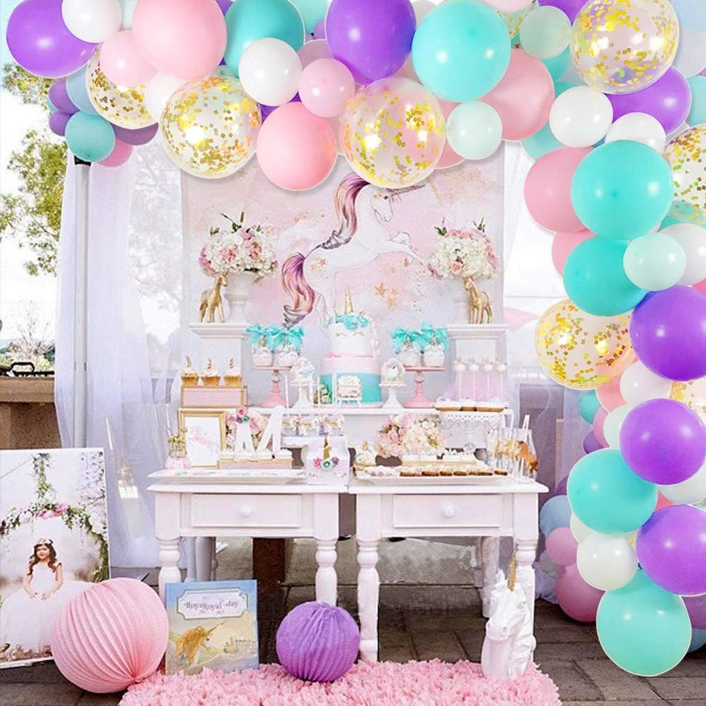 52pcs Agate Latex Balloons,12 Inch Purple Confetti and White Balloon Garland Kit Violet Confetti Balloon Arch Deep and Light Purple Balloons for Birthday Party Decoration Girls Baby Shower Decoration
