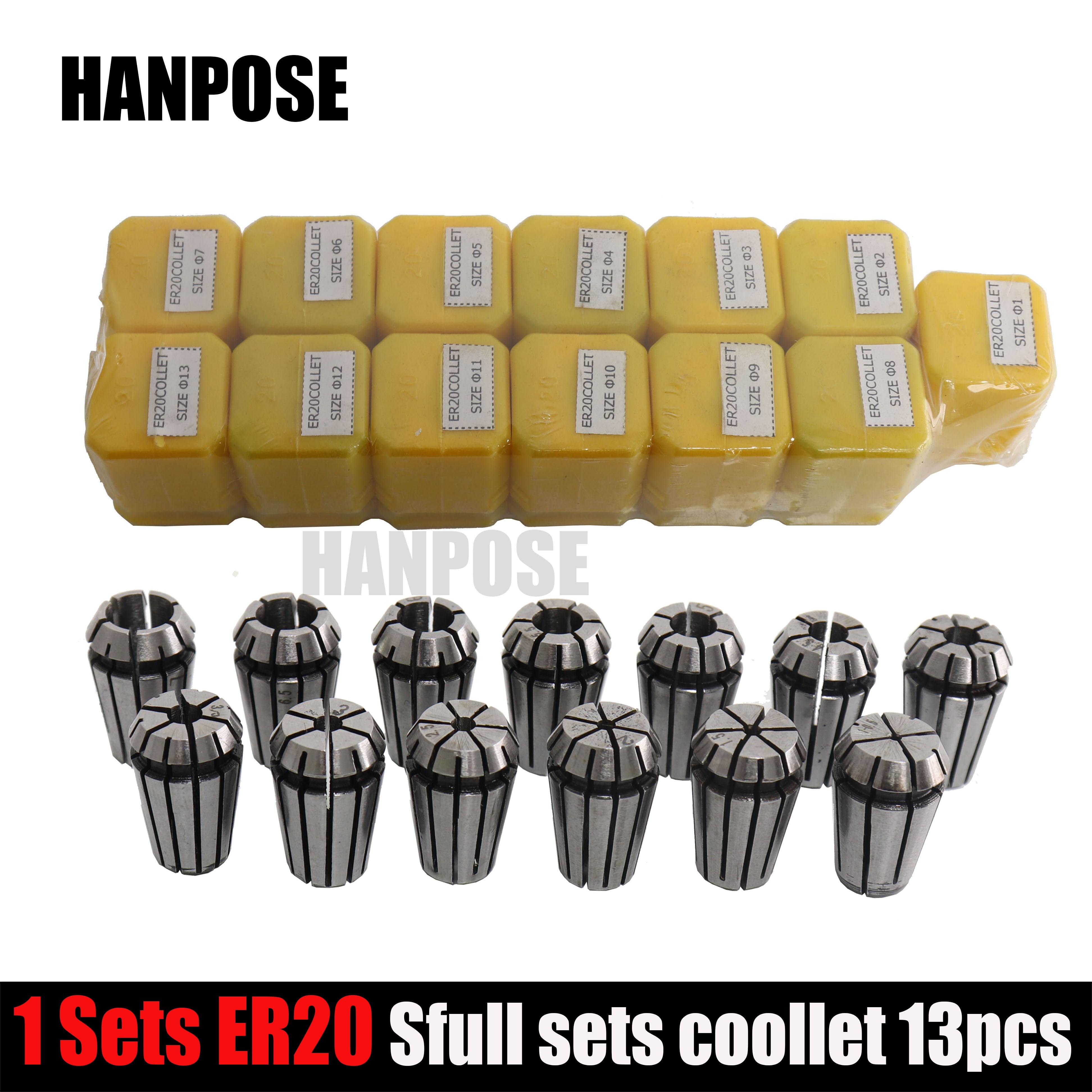 Najlepsza cena 13 sztuk / zestaw ER20 Precision Spring Collet Set Frezarka CNC Narzędzie ER20 Spring Collet Chuck