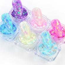 Charm Nail-Glitter-Powder Heart-Shaped Nail-Art-Flakes Holographic Manicure-Decoration