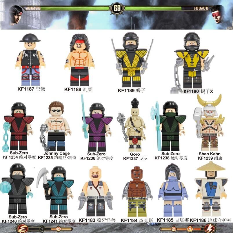 Mortal Kombat Action Building Blocks Sub-Zero Johnny Cage Goro Raiden Baraka Scorpion Figures For Kids Gift Toys KF6108
