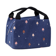 Imitation hemp series small insulation bag Hand-held zipper insulation lunch box bag Outdoor picnic ice pack lunch bag lunch bag
