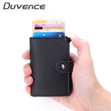 Duvence RFID Blocking Credit Card Holder dor Men Metal Aluminum Bank Card Case PU Leather Women Wallet Slim Male Card Purse(China)