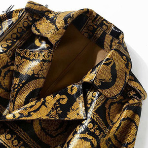 Image 5 - MoaaYina ファッションウインドブレーカーオーバーコート秋冬レディースロングスリーブヴィンテージプリントレースアップ暖かい外套