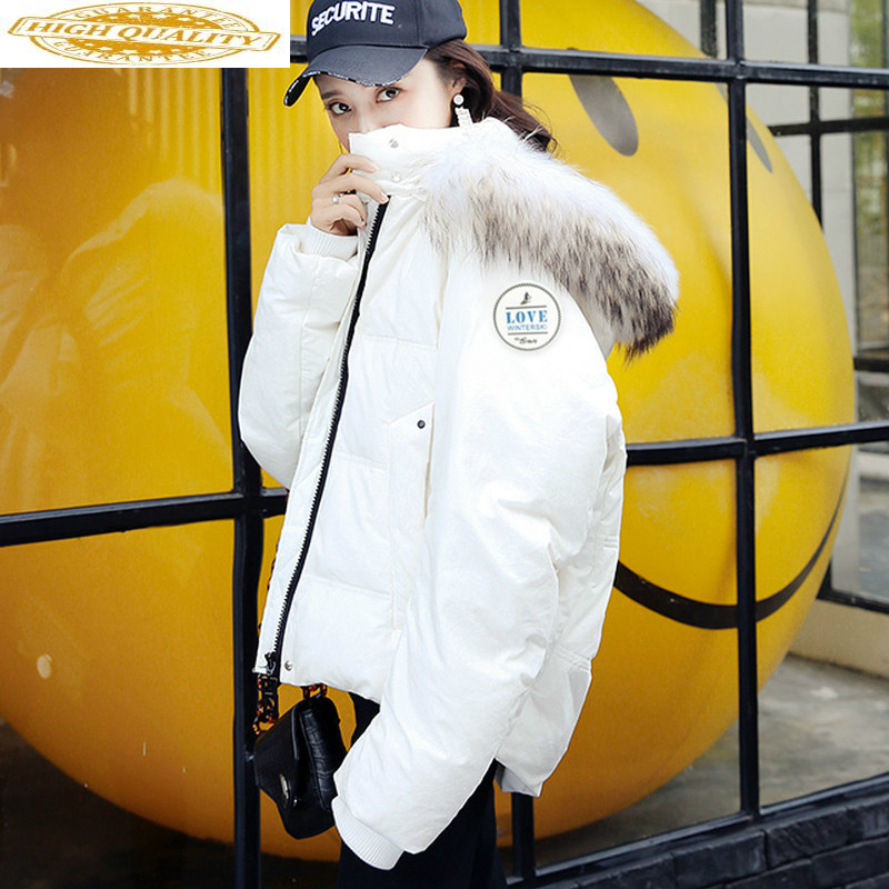 White Duck Down Jacket Winter Coat Woman 2019 Hooded Loose Thick Short Coat Women Big Fur Collar Chaqueta Mujer KJ439