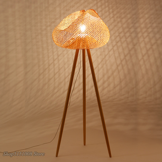 LED Floor Light Bamboo Hand Knitted Lampshade Nordic Creative Simple Floor Lamps for Living Room Tea Room Light Fixtures Decor