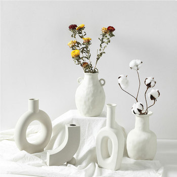 Nordic Ins Ceramic Vase Home Ornaments White Vegetarian Creative Ceramic Flower Pot Vases Home Decorations Craft Gifts 1