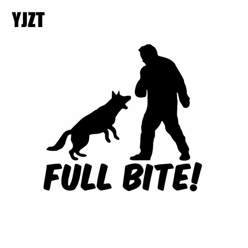 YJZT 13.8X12.9CM Full Bite Funny Shepherd Car Sticker Vinyl Decal Dog Animal Black/Silver C24-1160