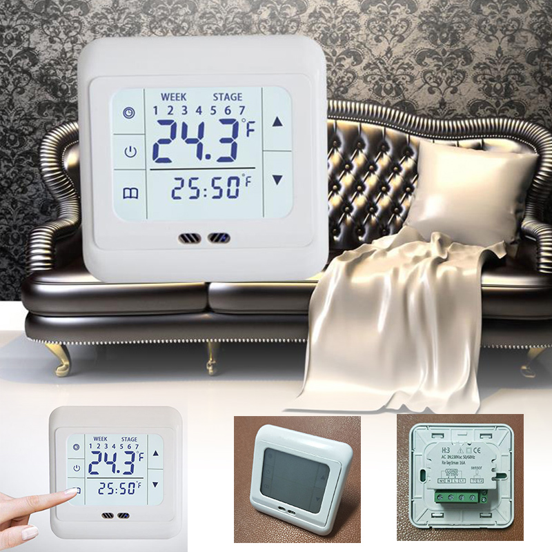 White Digital Floor Thermostat Touch Screen AC 220V Floor Heating Room Thermostat for Home Heating System Temperature Controller