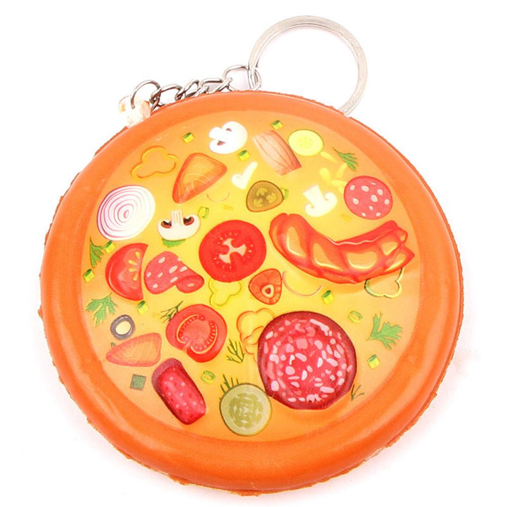 Slow Rebound PU Pizza Key Ring Pendant Simulation Food Toy Dessert Cake Keychain Toys For Children