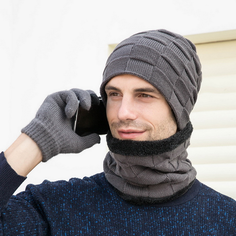Adisputent Winter Beanie Hat For Men Women Hat Scarf Warm Scarf Hat Gloves Set Male Female Hat Scarf Set 3 Pcs Skullies Beanies
