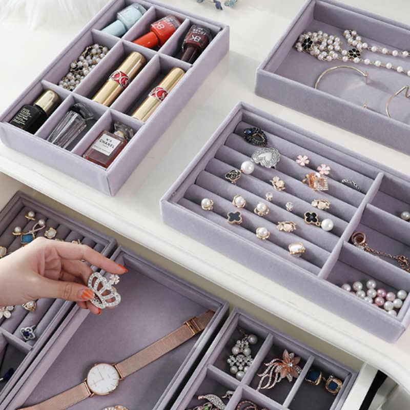 درج جديد لتقوم بها بنفسك صينية تخزين المجوهرات خاتم سوار هدية صندوق مجوهرات المنظم حاملات القرط حجم صغير تناسب معظم مساحة الغرفة