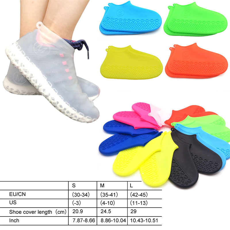 Silicone Waterproof Shoe Covers Outdoor Rainproof Hiking Skid-proof Shoe Dust Covers For Man's Women's Shoes