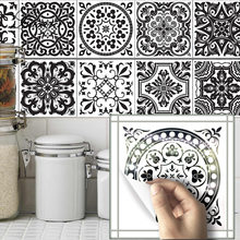 10PCS/Set Wall Stickers Retro Tiles Stickers PVC Bathroom Waterproof Sticker Vintage Home Decor Room Wallpaper Poster Kitchen(China)