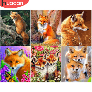 HUACAN Coloring By Numbers Fox Animals Kits Drawing Canvas DIY Pictures Oil Painting Hand Painted Gift Home Decor - discount item  40% OFF Arts,Crafts & Sewing