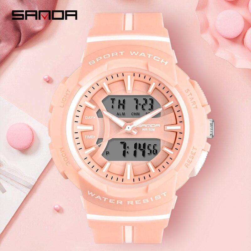Montres femme mode robe Bracelet haut marque SANDA montre-Bracelet luxe Anti-chute chronomètre montre numérique fille heure réveil