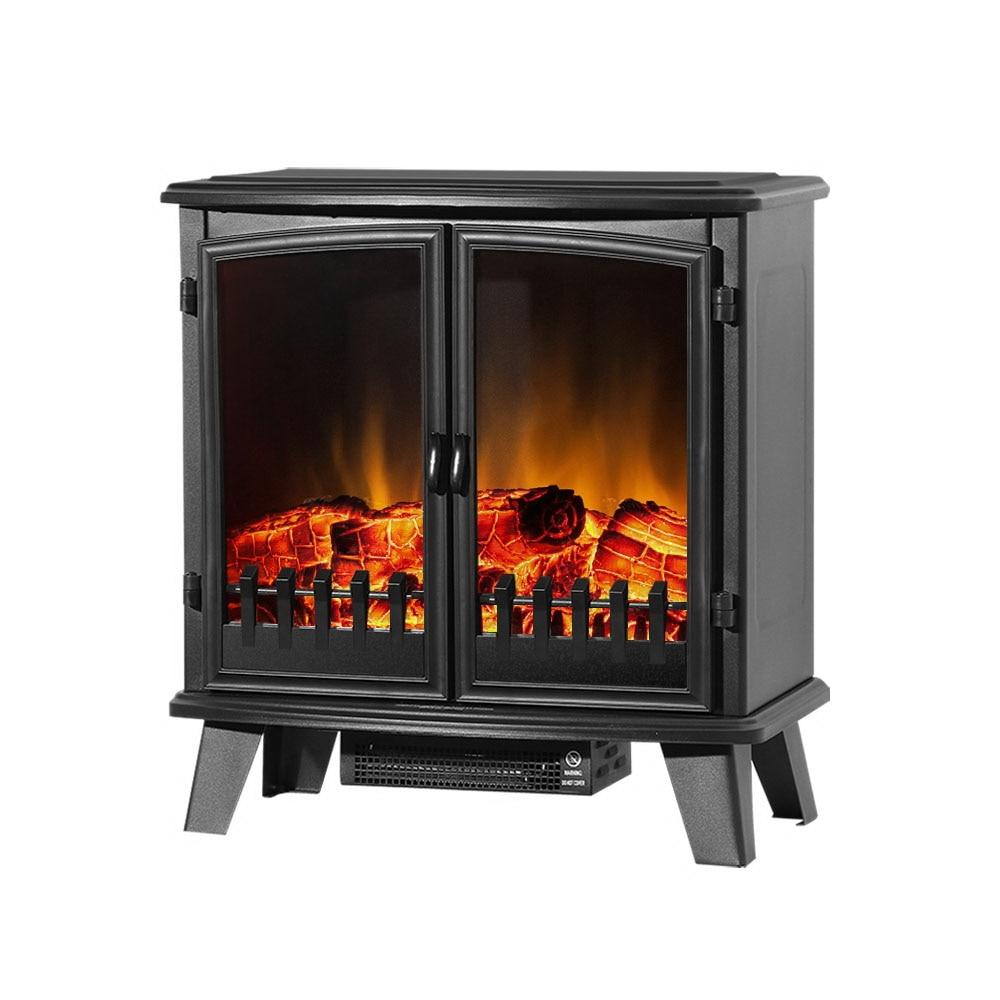 Devanti Electric Fireplace Heater Portable Fire Log Wood Effect Dual Door 1800W Black EFL-1800-D-BK