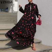 Long Dress VONDA 2021 Women Long Sleeve Mock Neck Pleated Holiday Party Dresses Bohemian Vestidos Plus Size Elegant Robe 5XL