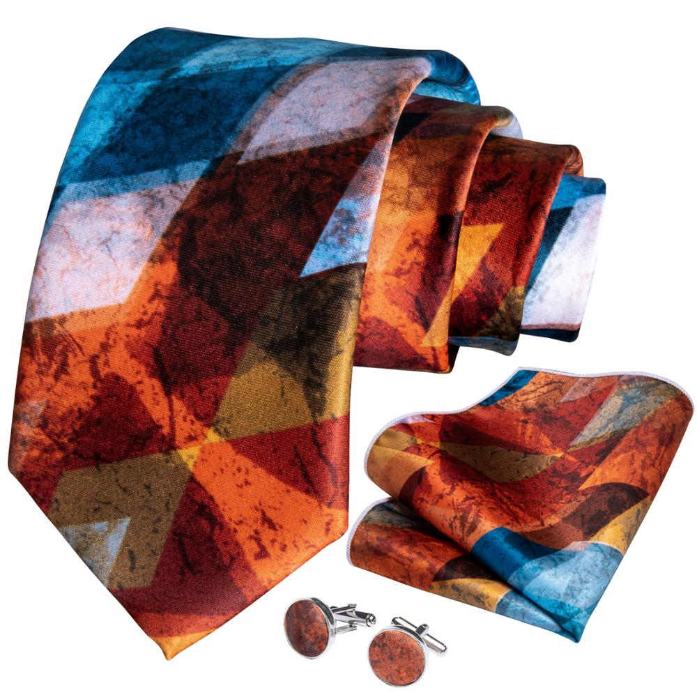 Fashion Men Tie Gold Bule Novelty Wedding Tie For Men Business Dropshipping DiBanGu Designer Hanky Cufflinks Tie Set SJT-7258