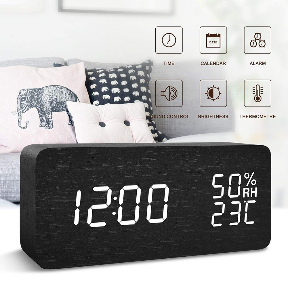 Nice Rectangle LED Display Voice Activated Temperature Humidity Alarm Digital Clock image