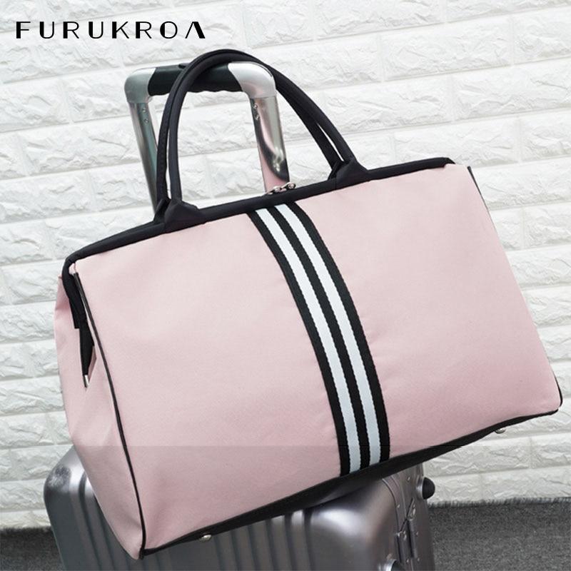 Women Overnight Weekend Fitness Bag Ladies Stripe Yaga Big Travel Bag Light Men Foldable Outdoor Bags Korean 2020 XA37WB|Gym Bags| |  - title=