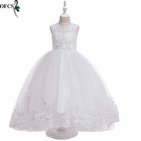 Girl Bowknot Lace Sleeveless Flower Princess Dress Children Clothes Girl Party Dress Costumes Children 4 12T Clothing Retail