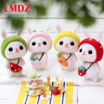 LMDZ 1 Uds. Muñeca de juguete adorable de lana fieltro Poked Kitting DIY conejo bonito Animal lana Felting no terminado fieltro de lana DIY paquete