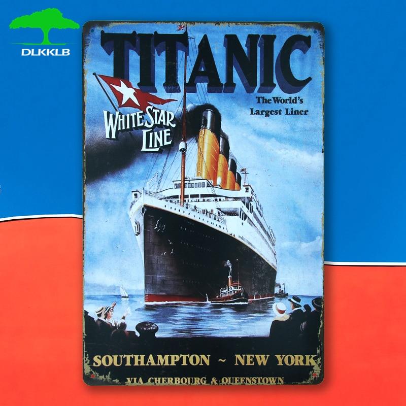 DLKKLB Vintage Decorative Titanic Classic Movie Vintage Metal Painting Plaque Metal Sign Poster Bar Club Casino Wall Sticker
