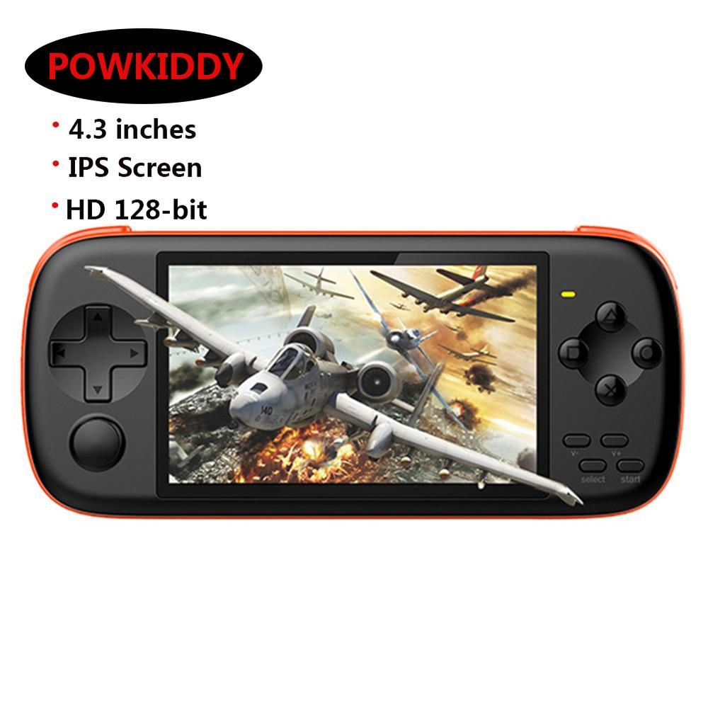 Powkiddy J6 Handheld Game <font><b>Console</b></font> <font><b>4.3</b></font> inch IPS Screen Retro Game Player HD 128-bit Simulator Arcade for NES PSP GBA SFC Play image