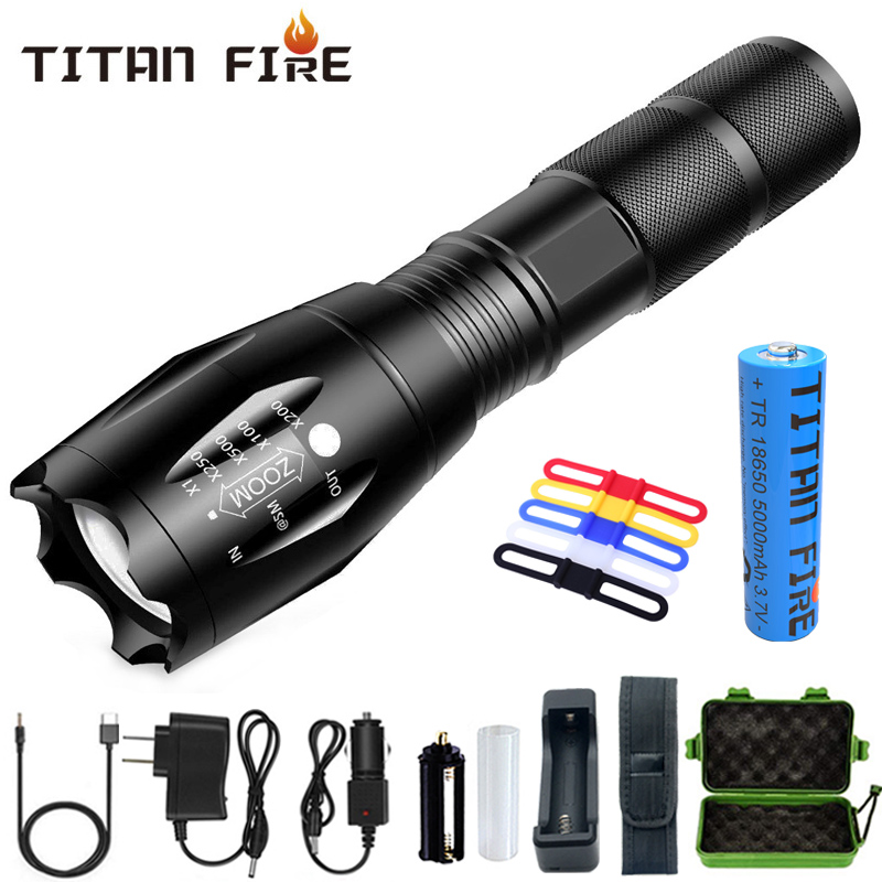 T20 Q250 Led Flashlight Ultra Bright T6/L2/V6 Torch Zoomable 5 Modes TL360 Waterproof Resistant Handheld Light Bike Light Lamp
