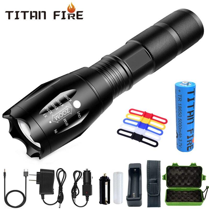 T20 Q250 Led Flashlight Ultra Bright T6/L2/V6 Torch Zoomable 5 Modes TL360 Waterproof Resistant Handheld Light Bike Light Lamp