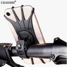 цена на CKAHSBI Silicone Motorcycle Universal Bicycle Mobile Phone Holder Black Bike Handlebar Stand Mount Bracket Mount Phone Holder