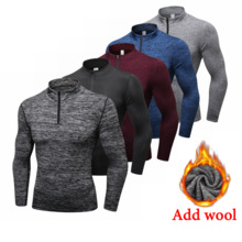 Winter Long Sleeve Zipper Sport Shirt Men , Fitness Tights Quickly Dry Men's Running T shirt Sportswear T-shirts Mens Rashgard