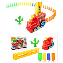 60 Pcs Automatic Laying Domino Brick Train Car Set sound light kids Colorful Plastic Dominoes Blocks Game Toys Set Gift for Girl