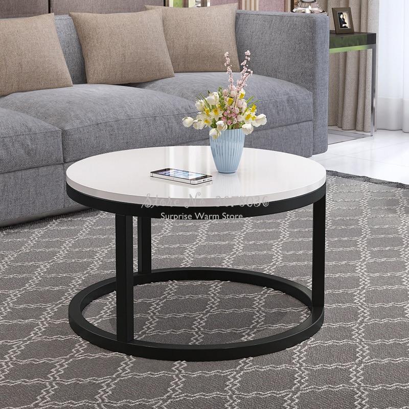 Mesa de centro de madera Simple negra mesa de centro de sala de estar mesa de centro pequeña mesa redonda sofá de moda mesa auxiliar muebles para el hogar