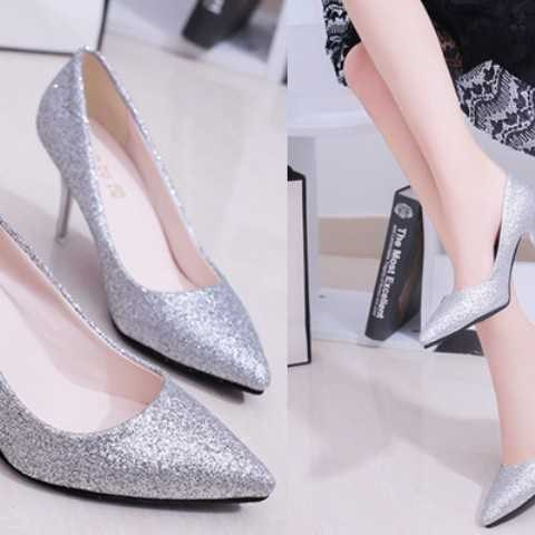 2019 Spring New Women's Singles Pointed Heels High Heels Thin Heels, Sexy Sequins Silver Wedding Shoes Bridesmaids ShoesP313GGX.