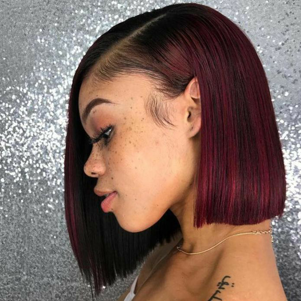 Brazilian Bob Lace Front Wigs 1b 99j Red Wine Ombre Human Hair Wig Natural Hairline Middle Part Bob Red Women's Lace Front