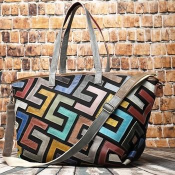 Women Shoulder Crossbody Handbag Bohemian 14'' Computer Bag Shopping Female Messenger Bags Real Genuine Leather Casual Tote Bag