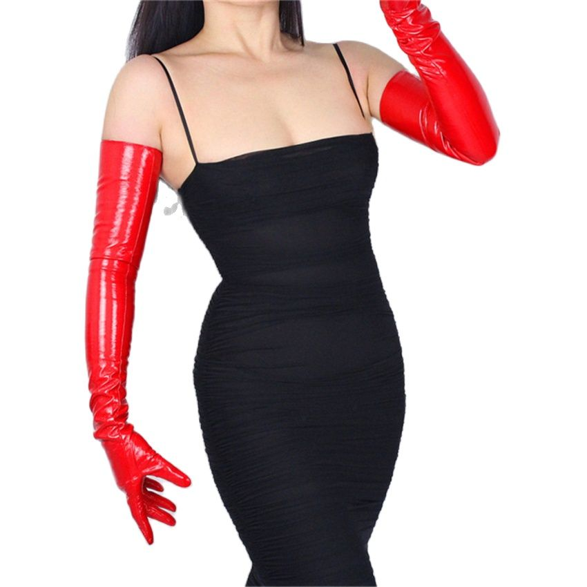 Bright Red Patent Leather Gloves PU Seiko Simulation Leather 13CM-60CM Unlined Sexy Rock And Roll  Women Leather Gloves TB17