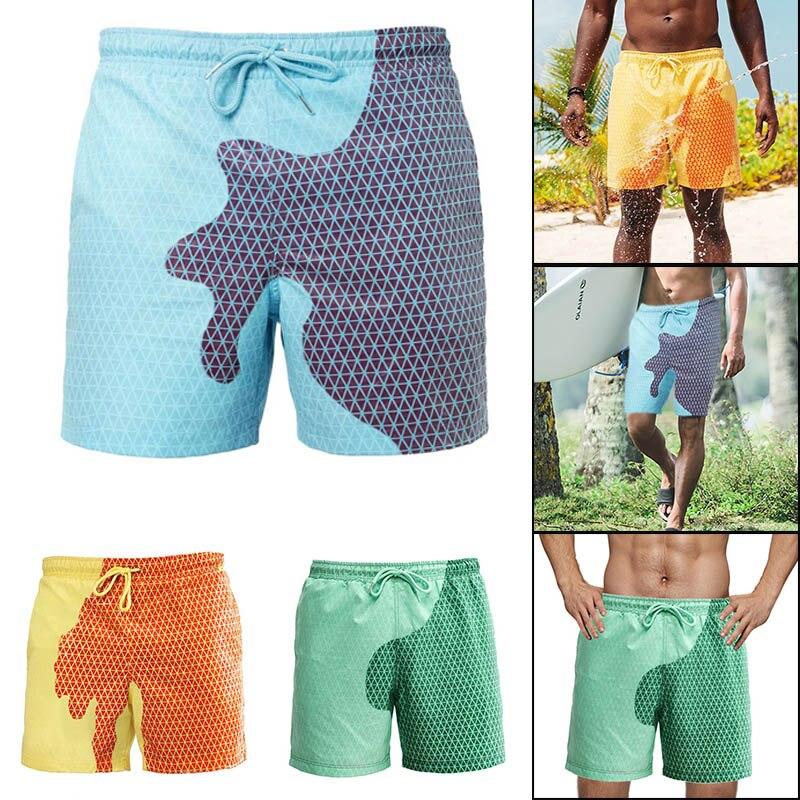 Troncos de Água e Mudança de Temperatura Novo Homem Nadar Secagem Rápida Verão Praia Shorts Banho Xd88 Cor